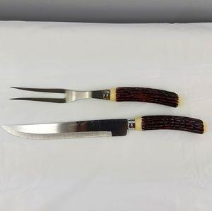 Vintage faux stag horn Handle carving set